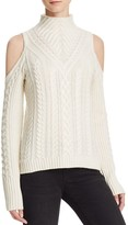 Aqua Cashmere Cable Knit Cold Shoulder Cashmere Sweater