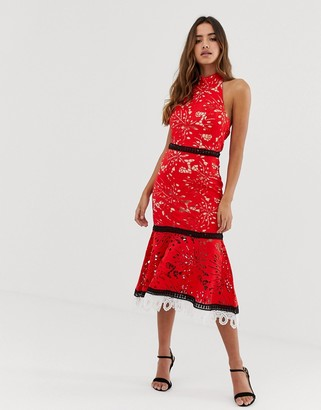 Forever U halter neck crochet lace midi dress in red