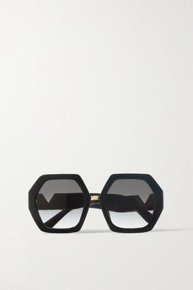 Valentino Garavani Hexagon-frame Acetate And Gold-tone Sunglasses - Black