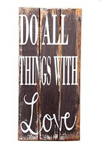 Novica Gray Hand Crafted Inspirational Wood Sign, 'Do All Things with Love'