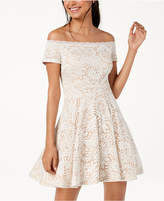 B. Darlin Juniors' Off-The-Shoulder Lace Fit and Flare Dress