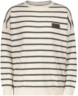 Brunello Cucinelli Striped wool, cashmere and silk sweater