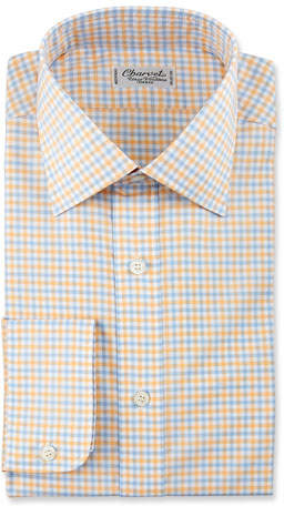 Charvet Gingham Cotton Dress Shirt, Yellow/Blue