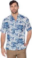 Cubavera Big & Tall Short Sleeve All Over Floral Print Leaf Shirt