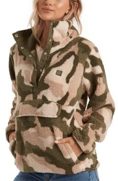 Billabong Juniors' Printed Faux-Sherpa Pullover Jacket