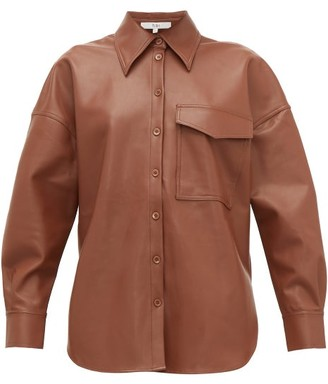 Tibi Back Tab Faux Leather Shirt - Womens - Brown
