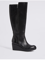 M&S Collection Leather Ruched Wedge Heel Knee High Boots