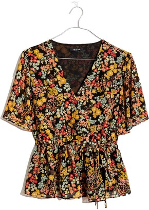 Madewell Flower Garden Short Sleeve Peplum Wrap Top