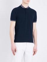 Sandro Striped-trim cotton-piqué polo shirt
