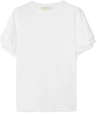 MICHAEL Michael Kors Layered Fil Coupé And Cotton-blend T-shirt