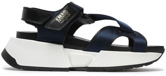 MM6 MAISON MARGIELA Leather-trimmed Satin Platform Sandals