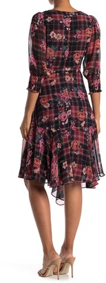 Gabby Skye Elbow Sleeve Floral Plaid Dress