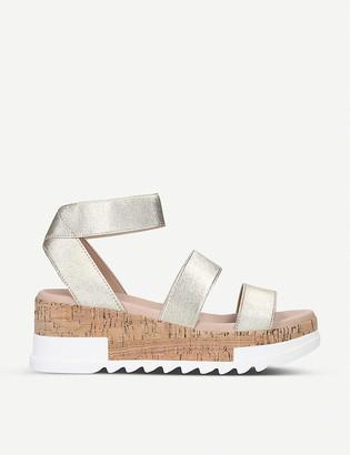 Steve Madden Bandi metallic stretch-woven platform sandals