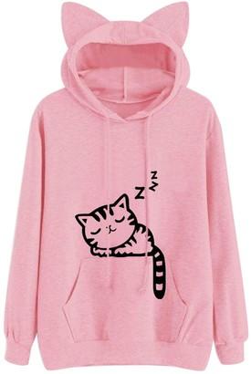 Ulanda Eu Womens Hoodies Ulanda-EU Womens Hoodies Women Long Sleeve Cat Printed Cute Sweatshirts Casual Pullover Tops Blouses Hoodies Jumpers for Womens Teen Girls (Pink S)