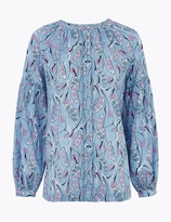 Per Una UsMarks and Spencer Pure Cotton Printed Blouson Sleeve Blouse