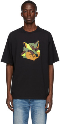 MAISON KITSUNÉ Black Neon Fox T-Shirt