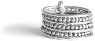 Agnes de Verneuil Line & Pearl Seven-Band Ring - Silver