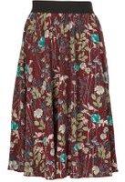 Dorothy Perkins Womens *Tenki Maroon Floral Midi Skirt- Maroon