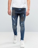 SikSilk Deepsea Drop Crotch Jeans In Blue