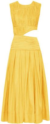 Aje Cascade Cutout Pleated Linen-Blend Midi Dress