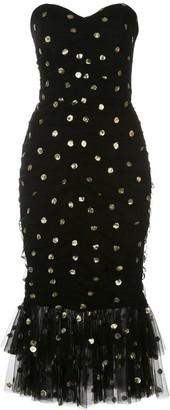 Marchesa Polka Dot Fishtail Dress