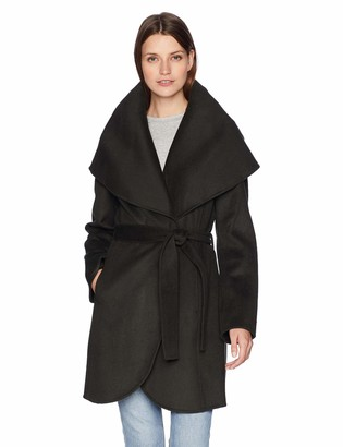 T Tahari Women's Double face Wool wrap Coat with Oversized Collar