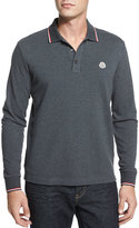 Moncler Tipped Long-Sleeve Polo Shirt, Gray