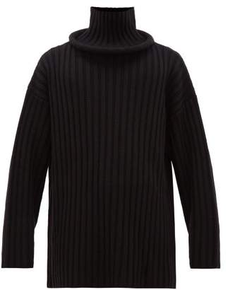 Balenciaga Ring Neck Ribbed Wool Sweater - Mens - Black
