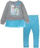 Disney Frozen Ruffle Tunic Fashion Top Legging Pants 2Pc Set