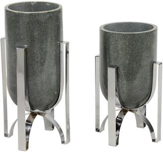 Uma Enterprises Uma Set Of Large Modern Cylindrical Gray Marble Vases On Silver Iron Stands