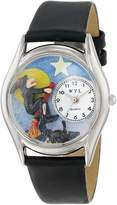 Whimsical Watches Women's S1220009 Halloween Flying Witch Black Leather Watch