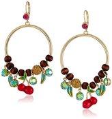 "Betsey Johnson Calypso Betsey"" Pave Cherry Mixed Bead Gypsy Hoop Earrings"