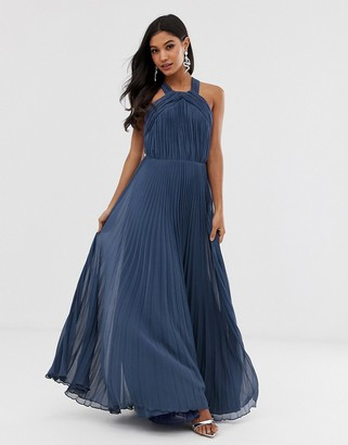ASOS DESIGN pleated bodice halter maxi dress