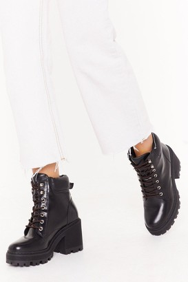 Nasty Gal Womens Cracks Are Showing Lace-Up Heeled Boots - Black