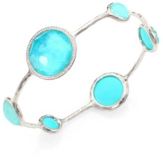 Ippolita Stella Turquoise, Clear Quartz, Diamond & Sterling Silver Doublet Bangle Bracelet