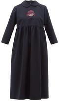 Comme des Garcons Crystal Cartoon-embellished Wool Midi Dress - Womens - Navy