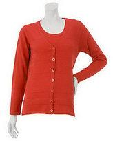 Denim & Co. As Is Sweater Cardigan Twin Set with Tank & Stripe Detail