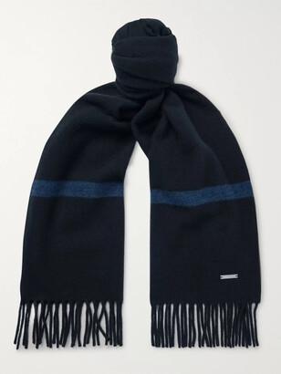 Loro Piana Fringed Striped Baby Cashmere Scarf - Blue