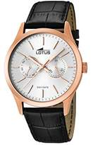 Lotus Men's Quartz Watch with Silver Dial Analogue Display and Black Leather Strap 15958/1