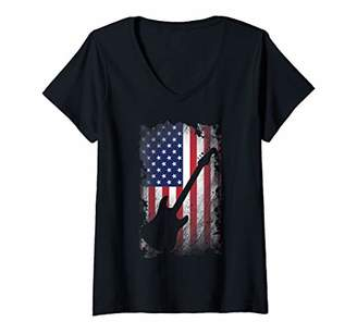 Womens Guitar American Flag Proud USA Patriot Guitarist Gift V-Neck T-Shirt