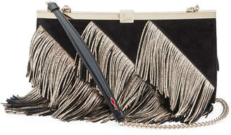 Christian Louboutin Palmette Fringed Suede Clutch Bag