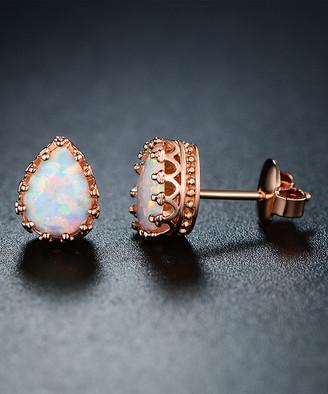 Peermont Women's Earrings Rose - Opal & 18k Rose Gold-Plated Teardrop Crown Stud Earrings
