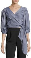 Elizabeth and James Farrah Side-Tie Wrap Cotton Top, Indigo