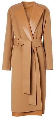 Burberry Double Face Wool & Cashmere Leather Lapel Jacket