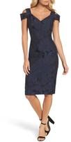Maggy London Petite Women's Floral Jacquard Cold Shoulder Sheath Dress