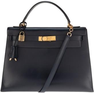 Hermes Kelly 32 Navy Leather Handbags