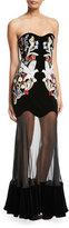 Alexander McQueen Velvet & Chiffon Long-Sleeve Gown, Black