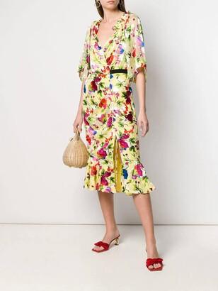 Saloni floral shift midi dress multicolor