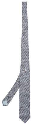 Prada Geometric Patterned Silk Tie - Mens - Blue Multi