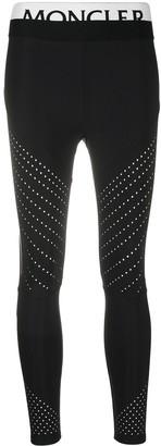 Moncler Logo Waistband Perforated Panel Leggings